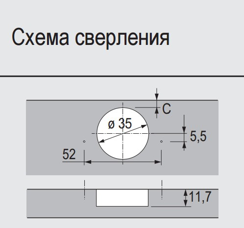 Петля быстрого монтажа Intermat 9943 ТH42 110°, вкладная, Hettich