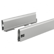 Комплект боковин ящика ArciTech с соединителями передней панели, NL 500, H94, цвет серебристый, Hettich